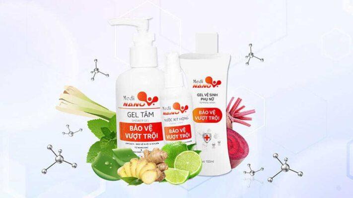 Bộ sản phẩm MediNano gồm Nước xịt họng MediNano, Gel tắm MediNano và Gel vệ sinh phụ nữ MediNano