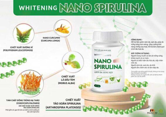 Viên uống trắng da từ tảo xoắn Whitening Nano Spirulina an toàn từ các thành phần thiên nhiên