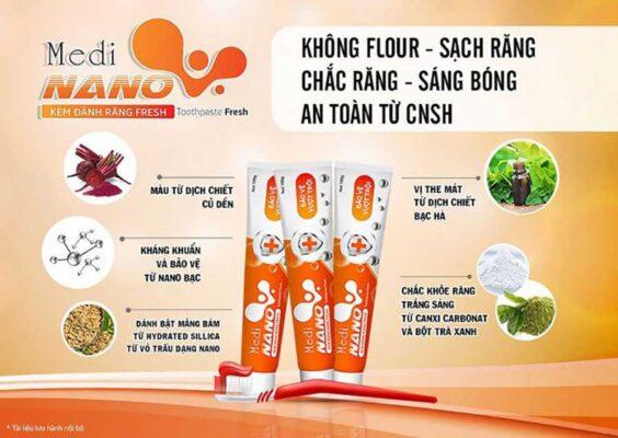 Kem đánh răng MediNano Fresh với thành phần an toàn không chứa Flour