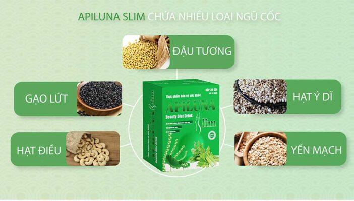 Thực dưỡng Apiluna Slim với thành phần chính từ Tảo xoắn Spiurlina và các loại ngũ cốc