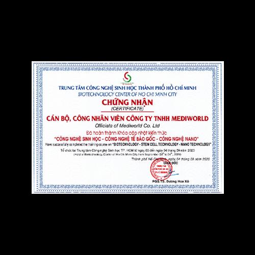 Chứng nhận Trung tâm CNSH Tp. HCM