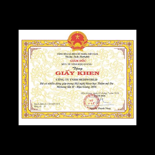 Giấy khen Sở Y Tế tỉnh Hậu Giang