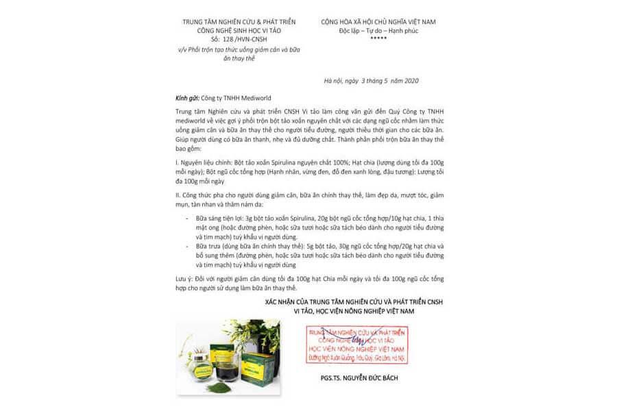 Công thức gợi ý pha trộn ngũ cốc bột tảo xoắn dành cho người giảm cân