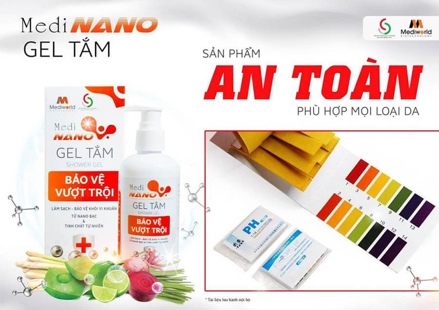 Gel tắm MediNano an toàn với mọi làn da