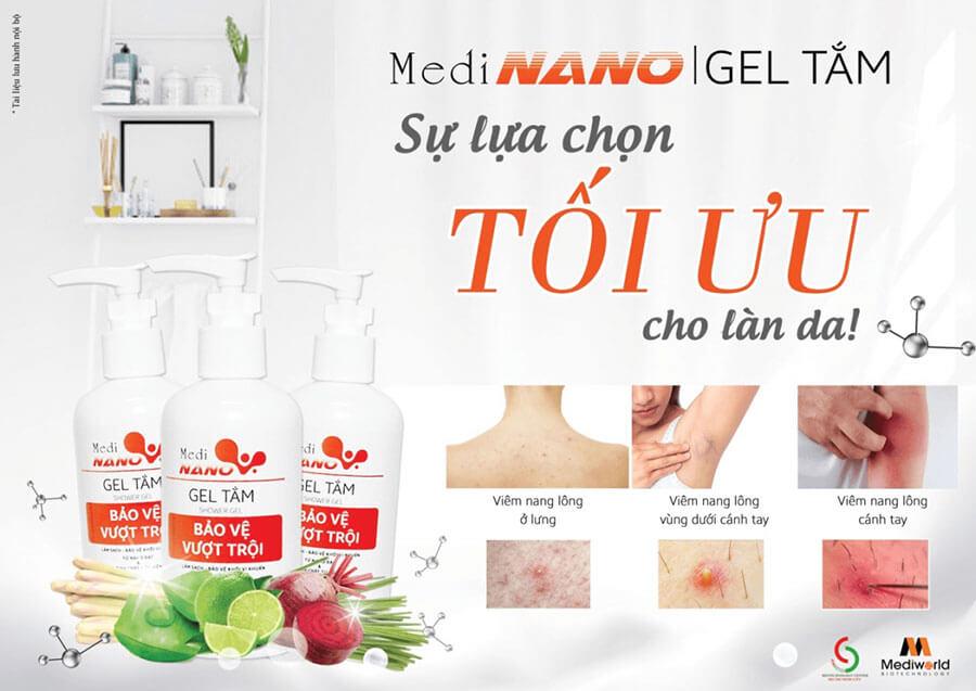 Gel tắm MediNano có thể ứng dụng hiệu quả vào quy trình chăm sóc da mụn, viêm nang lông