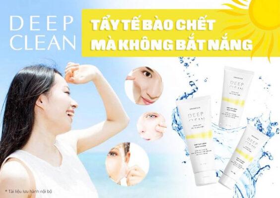 Tẩy tế bào chết Deep Clean không gây bắt nắng cho làn da