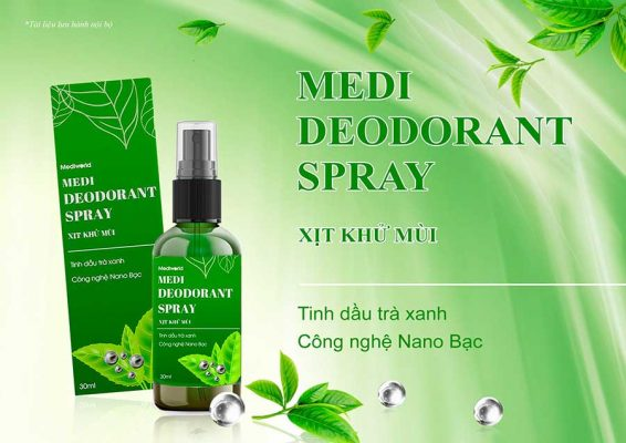 Xịt khử mùi Medi Deodorant Spray với thành phần chính từ Nano bạc và tinh chất trà xanh