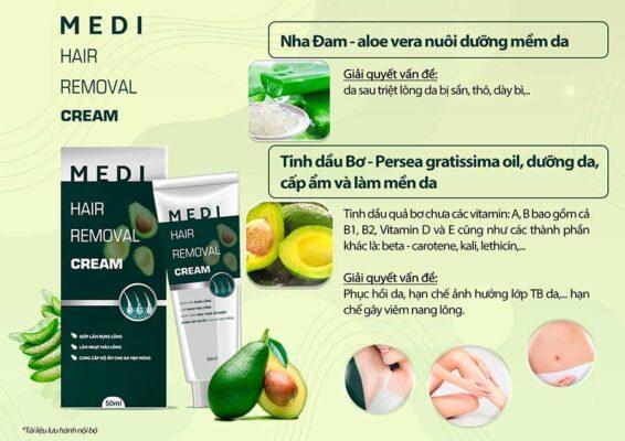 Kem tẩy lông Medi Hair Removal Cream còn cung cấp độ ẩm và nuôi dưỡng da mịn màng