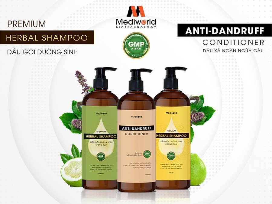 Loại bỏ gàu da đầu với bộ đôi dầu gội Premium Herbal Shampoo và dầu xả Anti-Dandruff Conditioner
