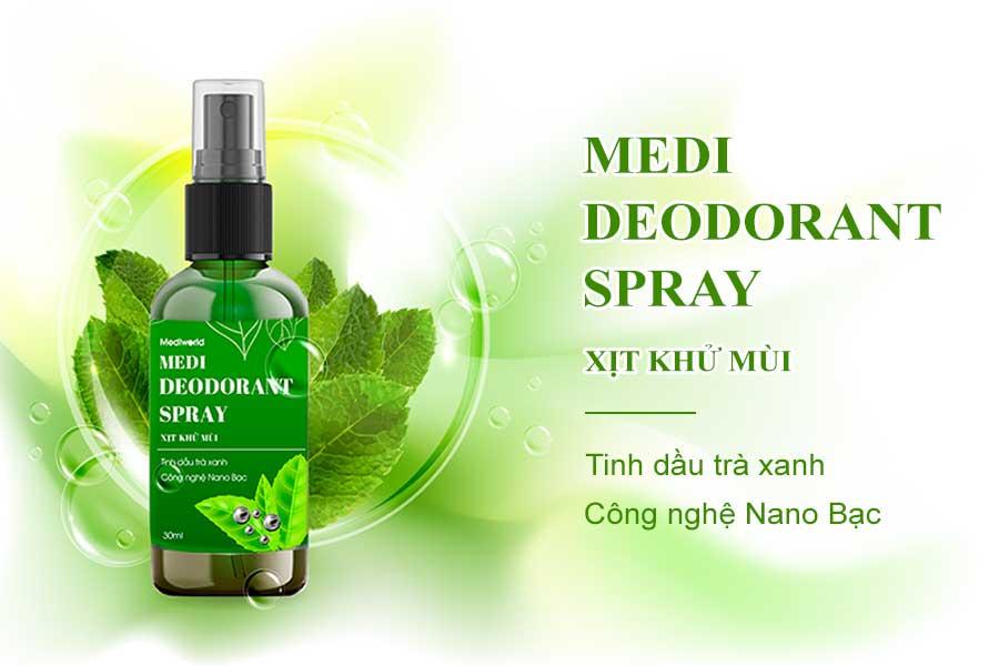 Xịt khử mùi Medi Deodorant Spray với thành phần tinh dầu trà xanh và Nano Bạc