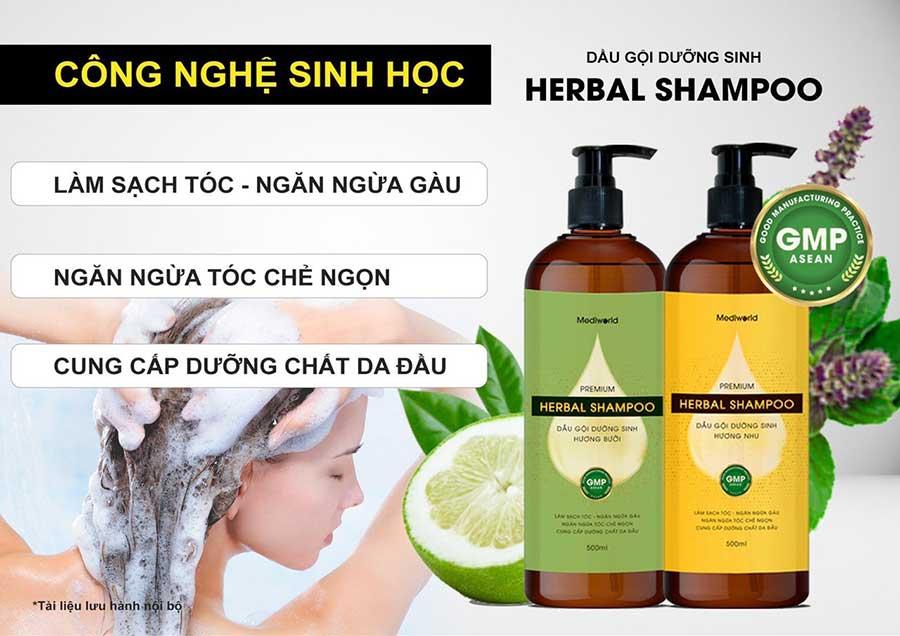 Dầu gội dưỡng sinh Premium Herbal Shampoo với thành phần chiết xuất từ dược liệu tự nhiên