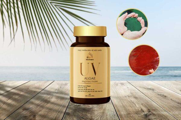 Viên uống UV Algae Protection với thành phần chiết xuất từ vi tảo xoắn Spirulina và vi tảo đỏ